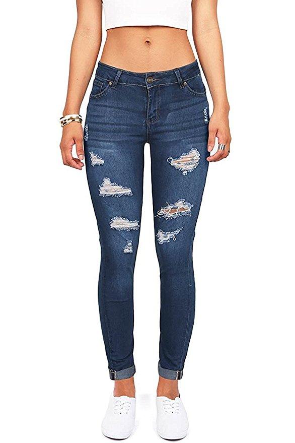 best ripped jeans amazon under 30 wax denim womens juniors distressed slim fit stretchy skinny