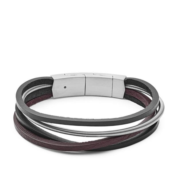 Multi-Strand Silver Leather Bracelet