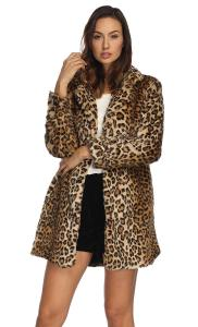 Leopard Faux Fur Coat Vintage Warm Long Sleeve Parka Jacket Collina