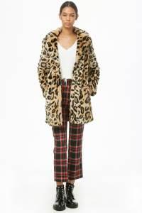 Leopard Print Faux Fur Coat Forever 21