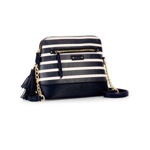 No Boundaries Black Stripe Half Moon Crossbody Bag