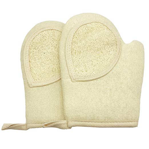 terry cloth best scrubbers smooth rough winter skin loofah gloves 2 pack