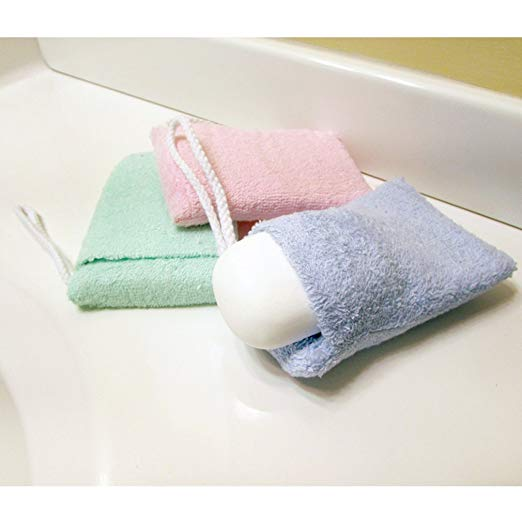 terry cloth best scrubbers smooth rough winter skin soap saver bag pocket