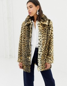 Warehouse faux fur coat in leopard print Asos