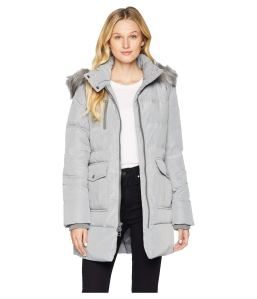 Grey Down Coat Long Fur