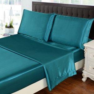 HollyHome Luxury 4 Piece Satin Sheet Set Amazon