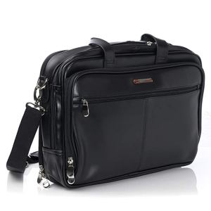 Alpine Swiss Monroe Leather Briefcase Top-Zip Laptop Messenger Bag