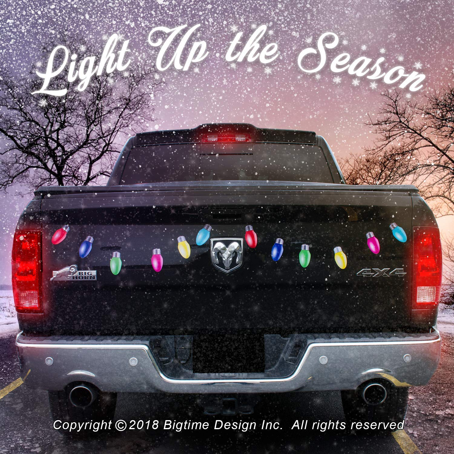 Car christmas light decals