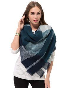 blanket scarves blue grey plaid