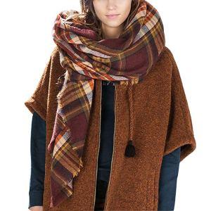 blanket scarves brown plaid