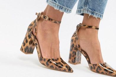 RAID Katy patent leopard print block heeled shoes