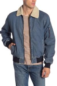 Denim Bomber Jacket Fur Men's
