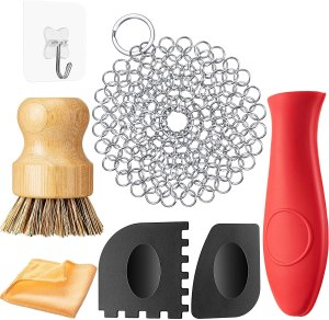 how to clean cast iron patelai cleaning set