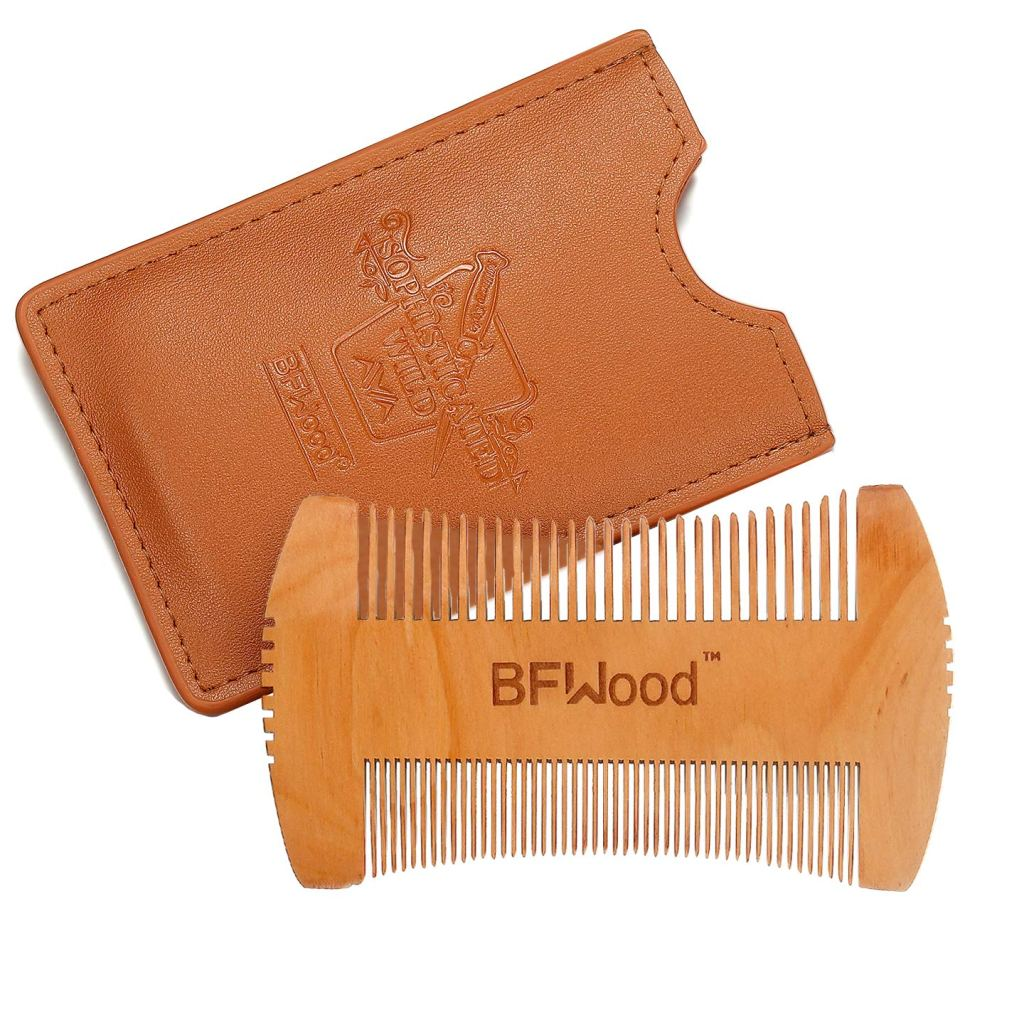 Hatchet Style Pocket Wooden Beard Mustache Comb with Leather Case