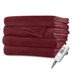 Sunbeam Luxurious Velvet Plush Premiun Soft Heated Throw Blanket