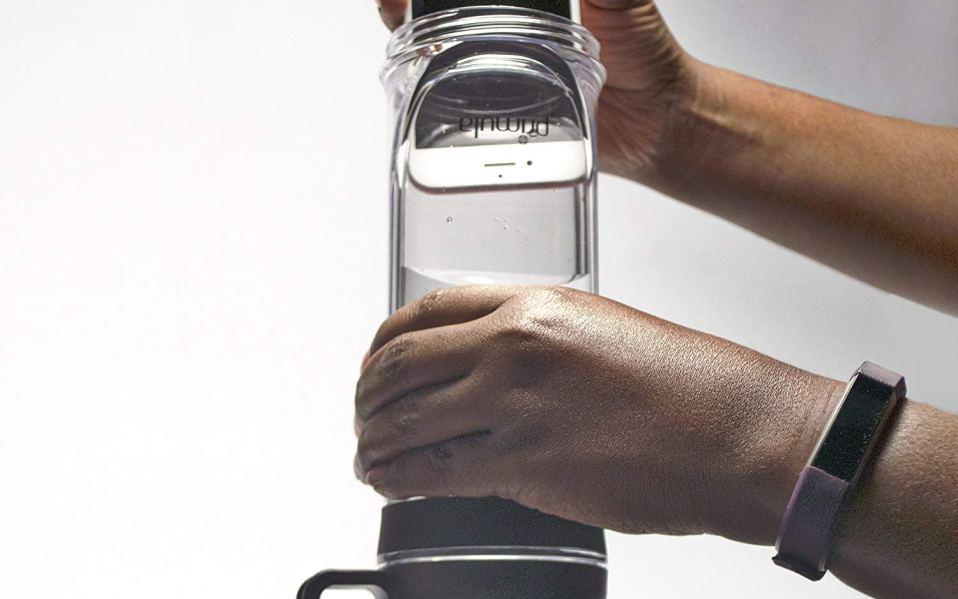 water bottle phone holder