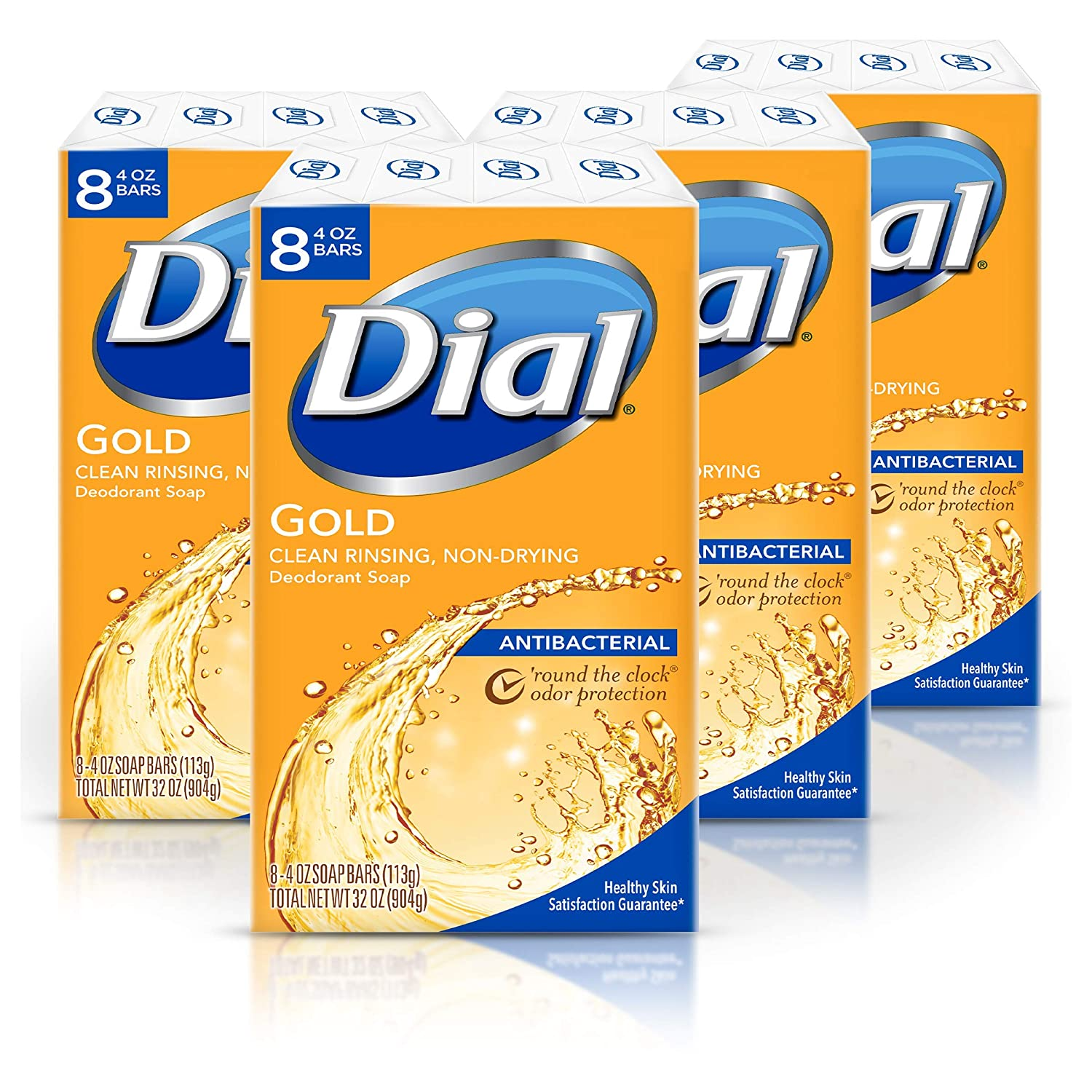 Four-pack of 8-count Dial Antibacterial Bar Soap, Gold