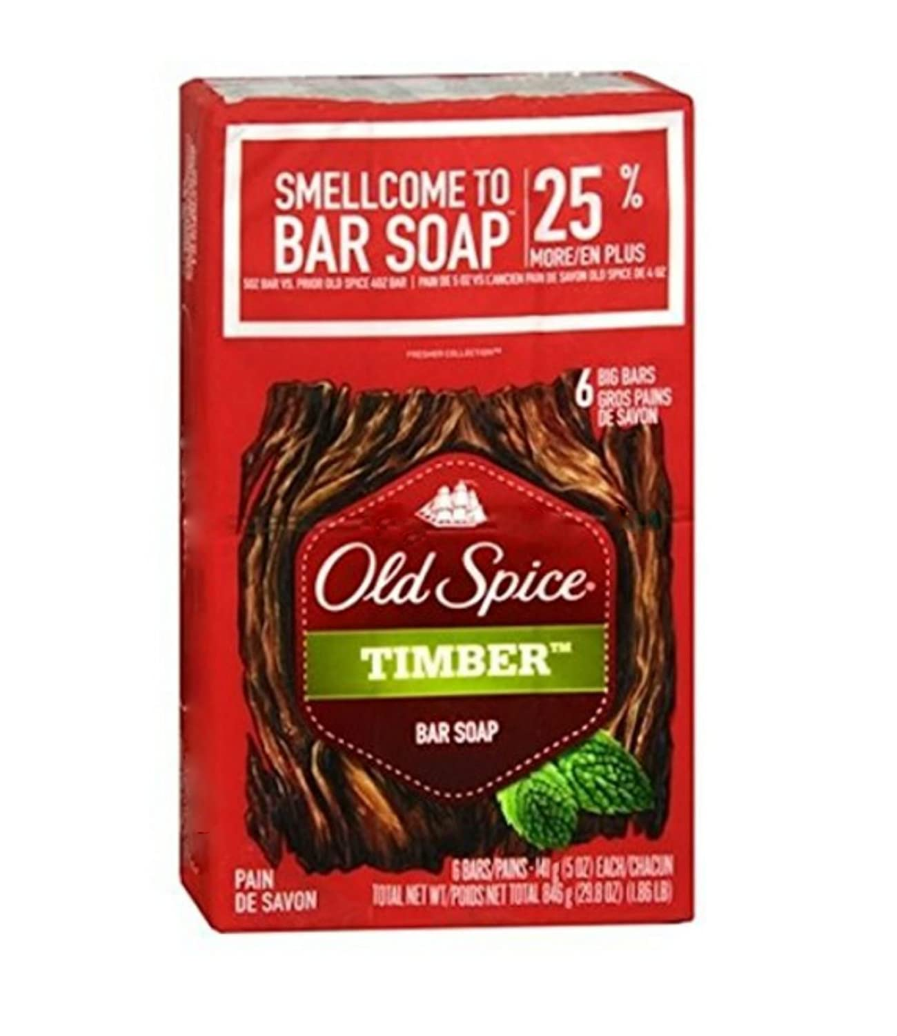 Box of Old Spice Timber Bar Soap for men, six-pack