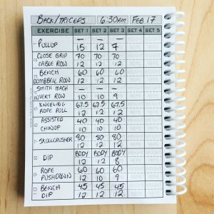 Fitness log journal