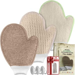 exfoliating gloves best loofah mitts health set