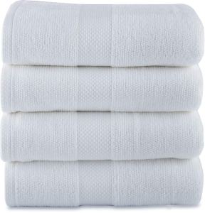 Maura Premium 100% Cotton Ultra Absorbent Quick Dry Soft White Terry Bath Towels