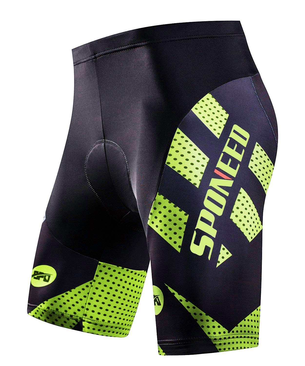 Sponeed Men's Cycling Shorts in green and black