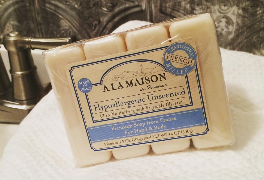 A La Maison unscented soap sits