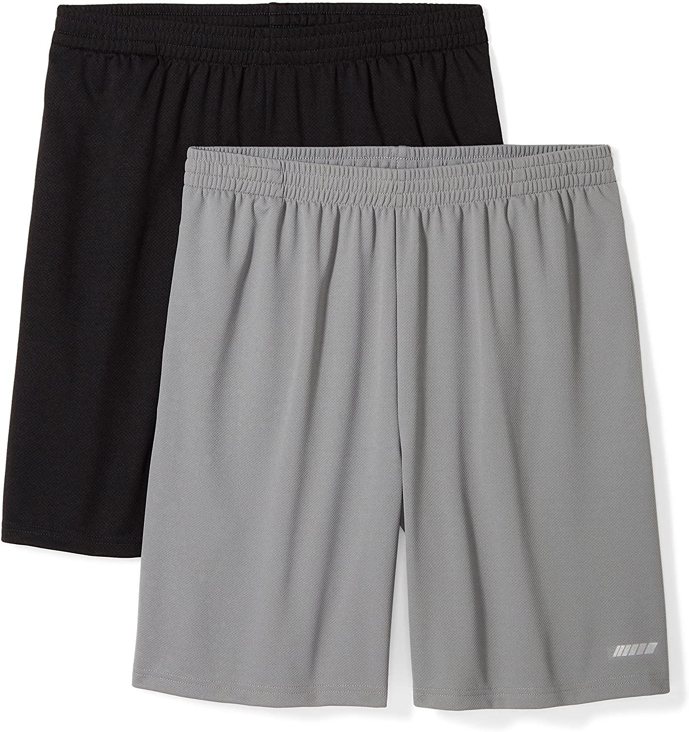 Amazon Essentials Men's Loose Fit Performance shorts two-pack in black and grey, best men's workout shorts