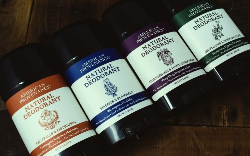 Four sticks of natural deodorant from