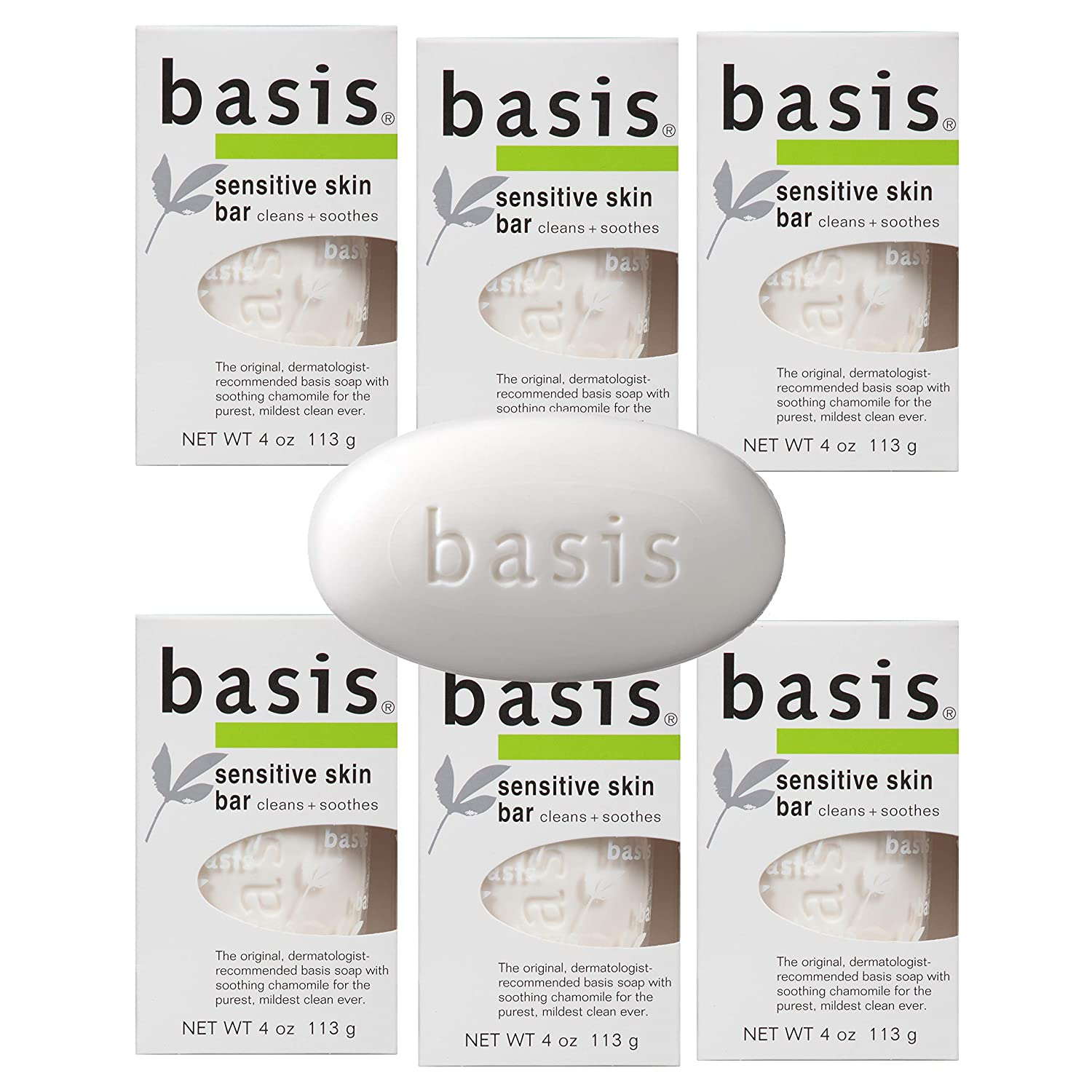 Six boxes of Basis Sensitive Skin Bar Soap, best soaps for sensitive skin