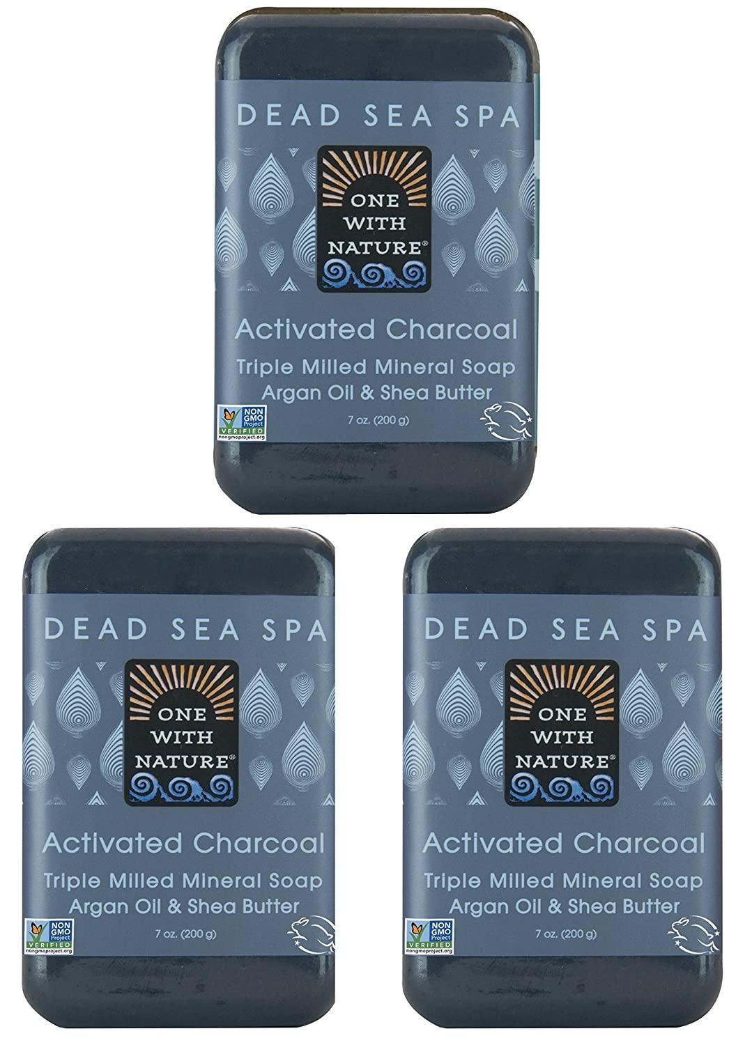 One With Nature Dead Sea Salt Charcoal Soap