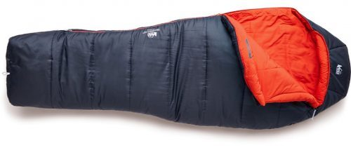 REI Co-Op Trailbreak 20 sleeping bag in blue and red colors