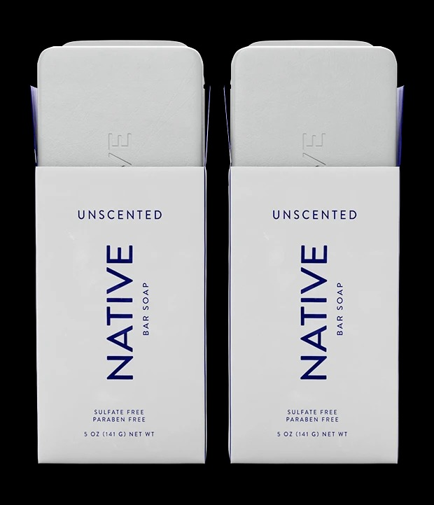 Two boxes of Native Unscented Bar Soap