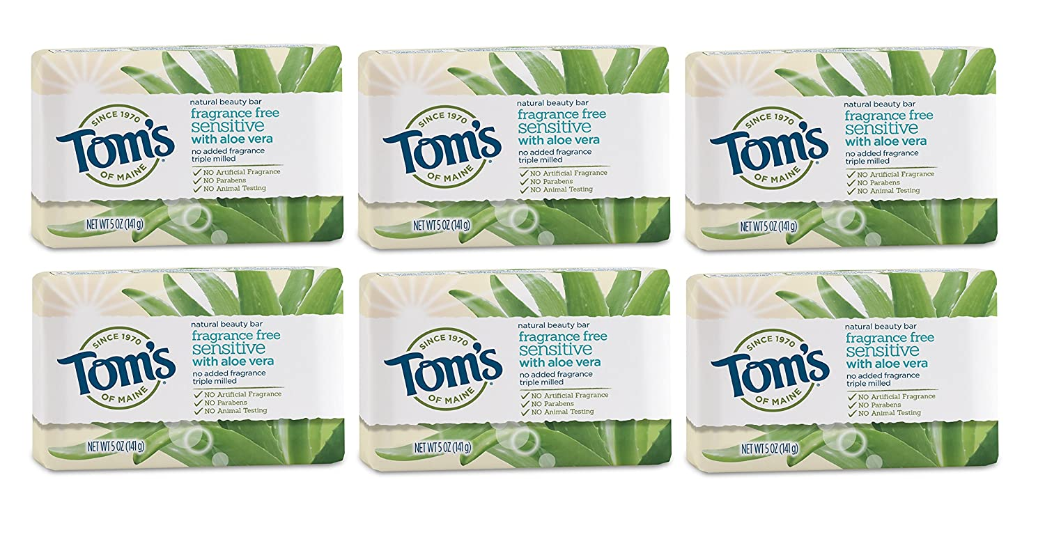 Six bars of Tom's of Maine Natural Beauty Bar Soap for Sensitive Skin with aloe vera and fragrance-free, best soaps for sensitive skin