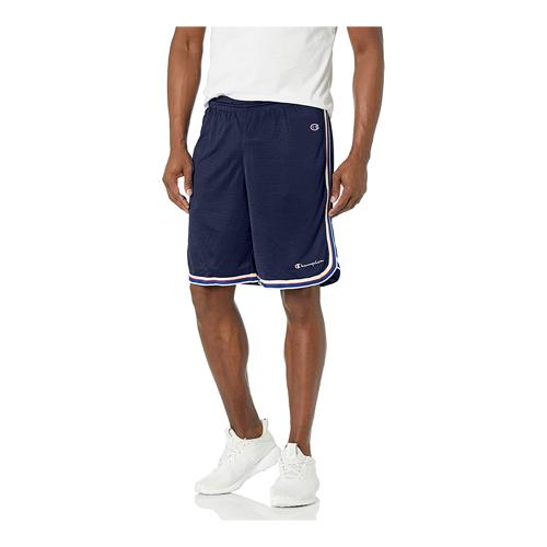 Man wears blue Champion Core Basketball Shorts