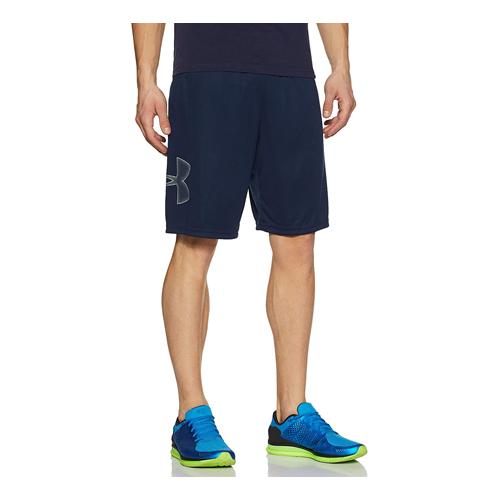 Man wears blue Under Armour Tech Graphic Shorts, best men's workout shorts