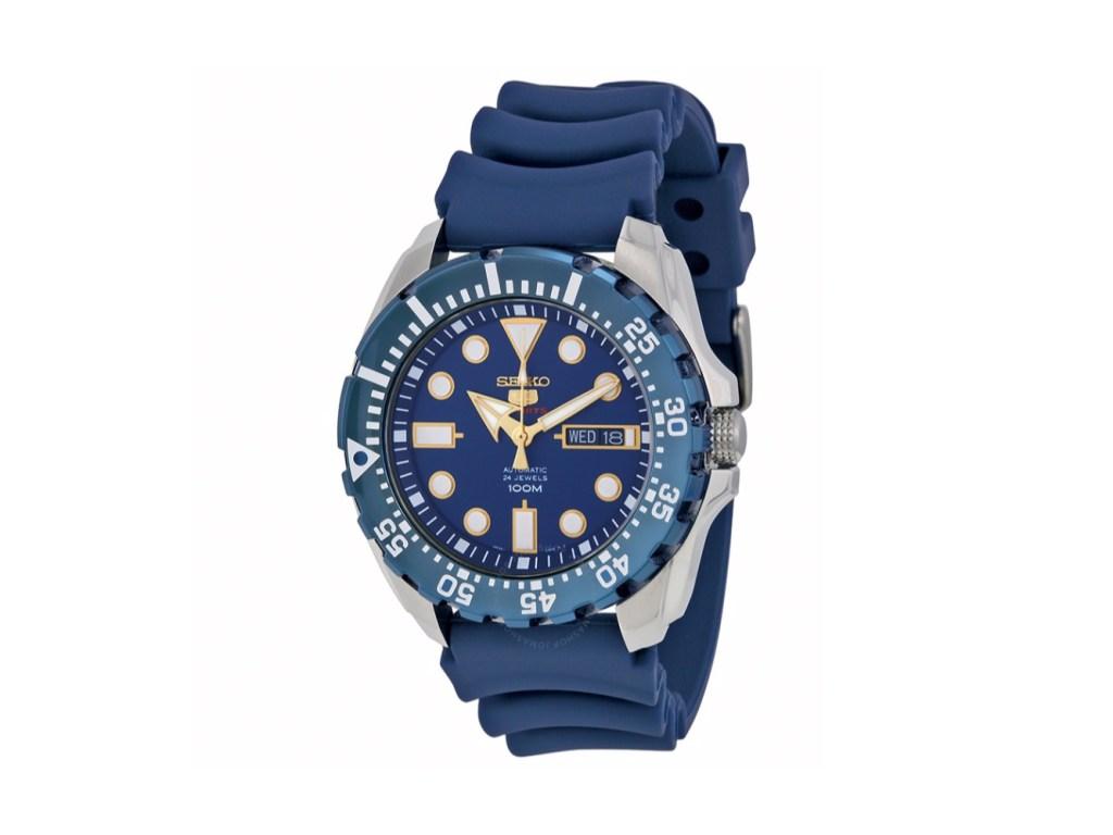 Seiko Diver Automatic Blue Dial Blue Rubber Watch