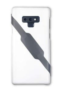 a white phone case with a grey yap band sitting diagonally across the back