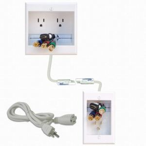 PowerBridge TWO-CK Dual Outlet Recessed In-Wall Cable Management System