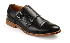 Faux Leather Double Monk Strap Shoe