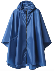 Blue rain poncho zip up