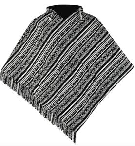 mexican poncho black