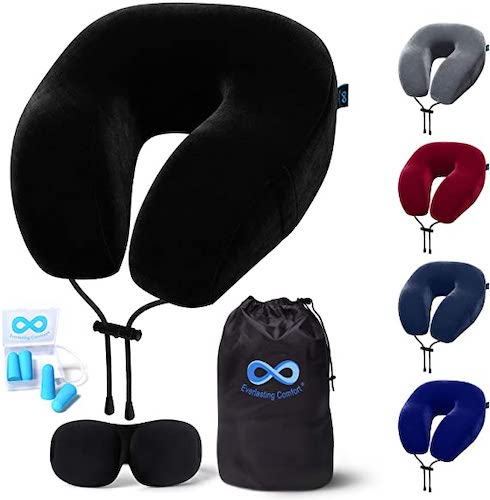 Everlasting Comfort Memory Foam Travel Pillow with Eye Mask and Earplugs, best travel pillows