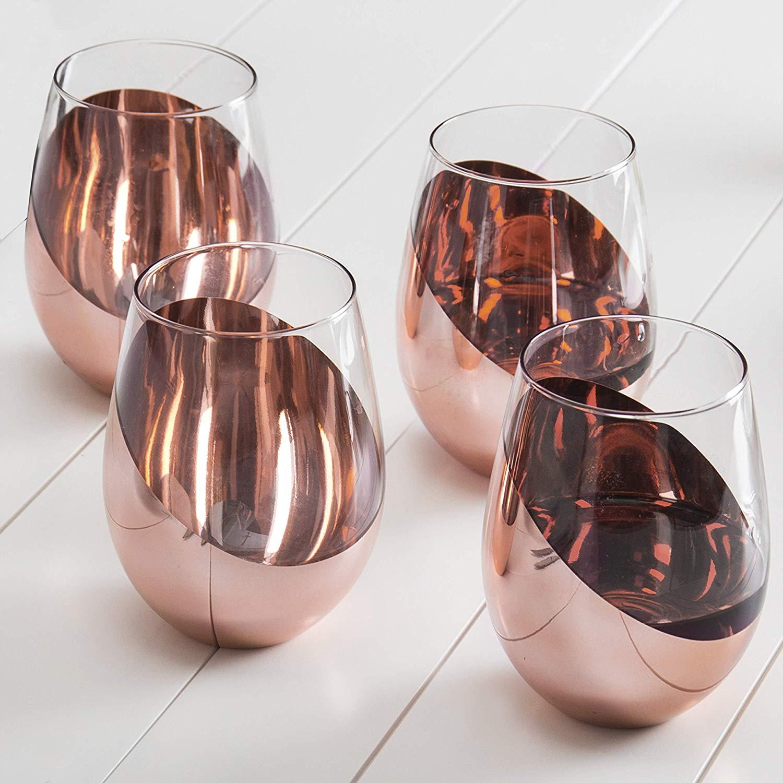 Stemless Copper Wine Glasses