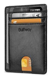 Buffway Slim Minimalist Front Pocket RFID Blocking Leather Wallets