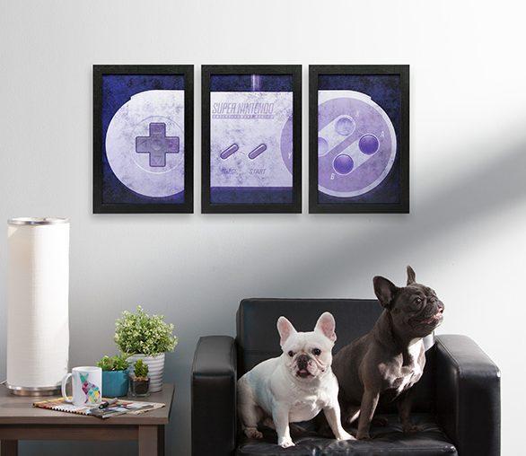 super nintendo triptych wall art