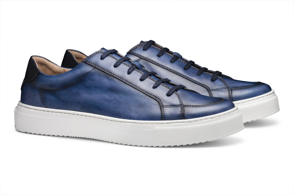 Moral Code Leather Sneakers blue