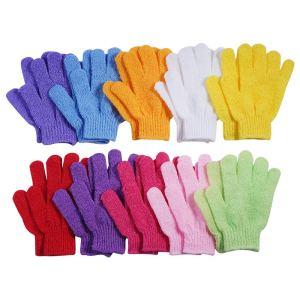 multicolor exfoliating gloves