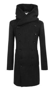 Black Trench Coat Hooded Men's