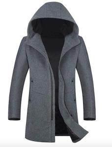 Grey Trench Coat Men's Hooded